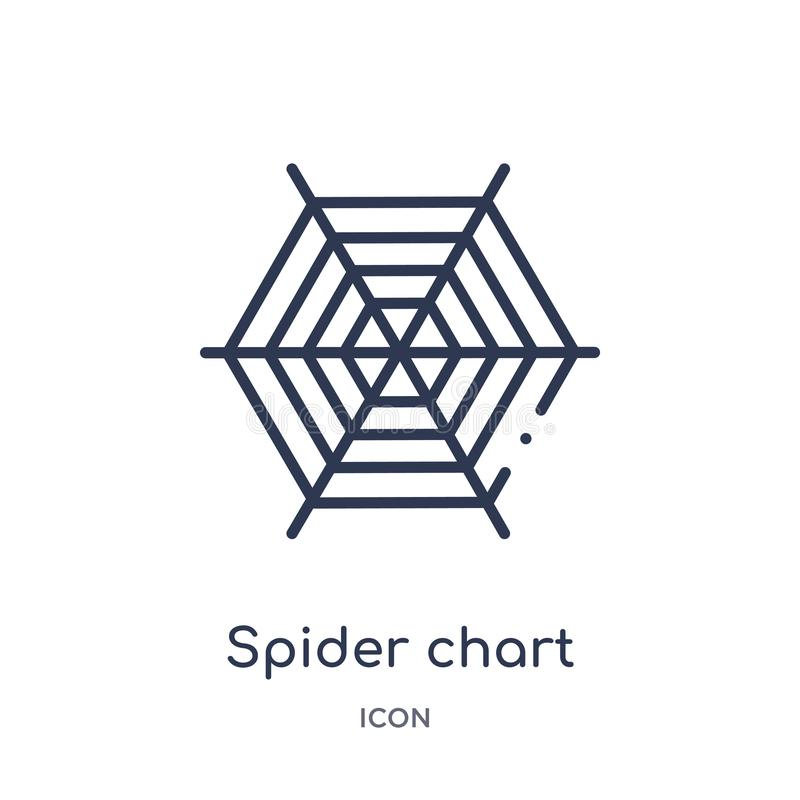 Icona lineare del grafico del ragno dalla raccolta del profilo di affari Linea sottile icona del grafico del ragno isolata su fon illustrazione vettoriale
