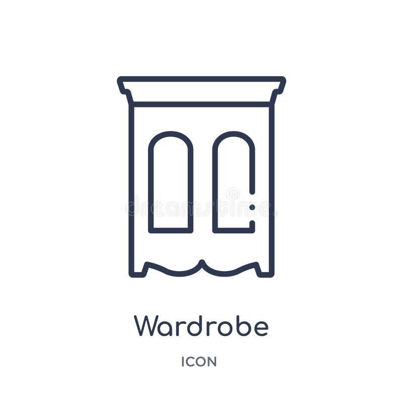 Icona lineare del guardaroba dalla raccolta del profilo della mobilia Linea sottile icona del guardaroba isolata su fondo bianco  illustrazione vettoriale