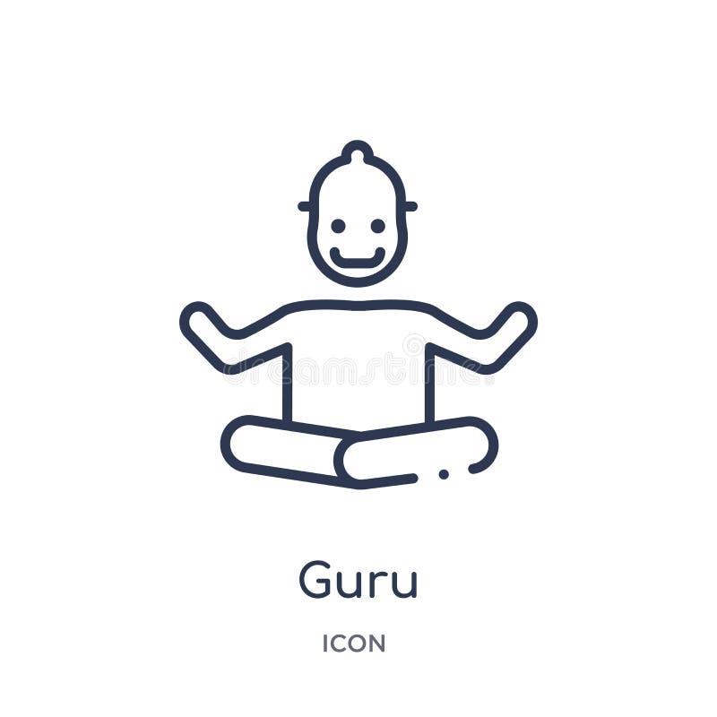 Icona lineare del guru dalla raccolta del profilo dell'India Linea sottile icona del guru isolata su fondo bianco illustrazione d illustrazione di stock