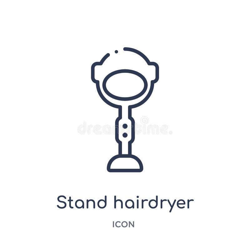 Icona lineare del hairdryer del supporto dalla raccolta del profilo di bellezza Linea sottile vettore del hairdryer del supporto  illustrazione di stock