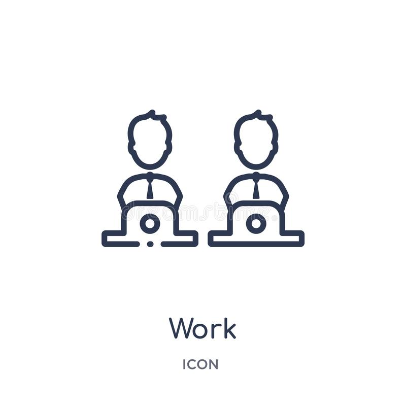 Icona lineare del lavoro dalla raccolta del profilo del influencer e di blogger Linea sottile vettore del lavoro isolato su fondo illustrazione vettoriale