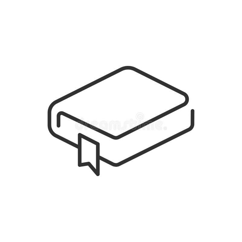 Icona lineare del libro della copertina rigida Linea sottile icona del libro della copertina rigida isolata su fondo bianco illustrazione vettoriale