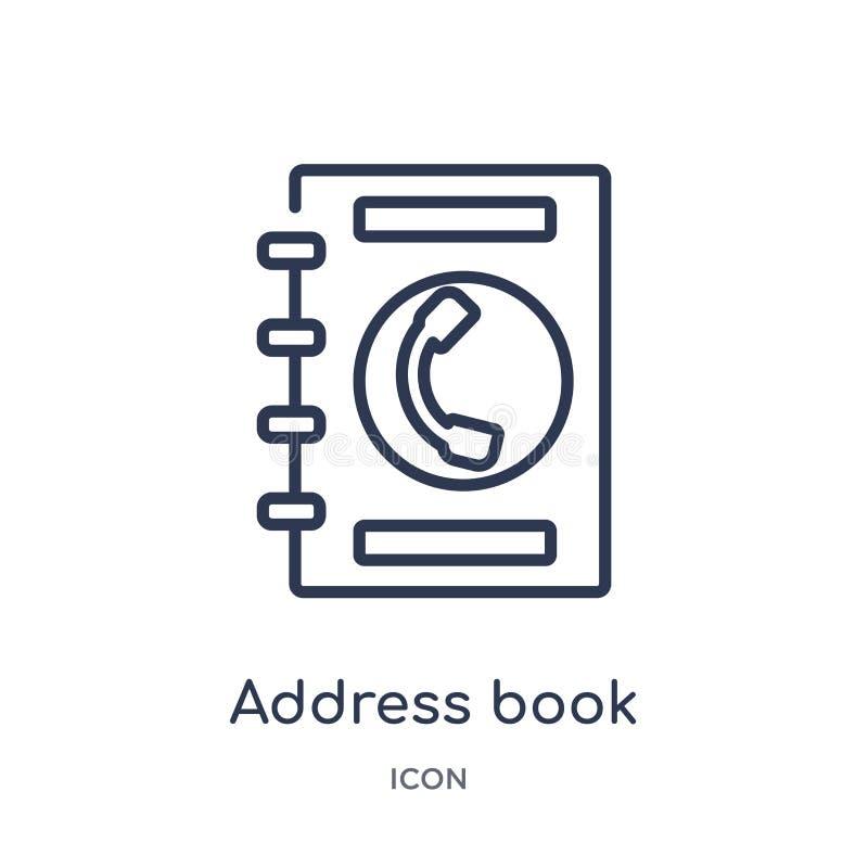 Icona lineare del libro di indirizzo dalla raccolta del profilo di affari Linea sottile icona del libro di indirizzo isolata su f illustrazione vettoriale
