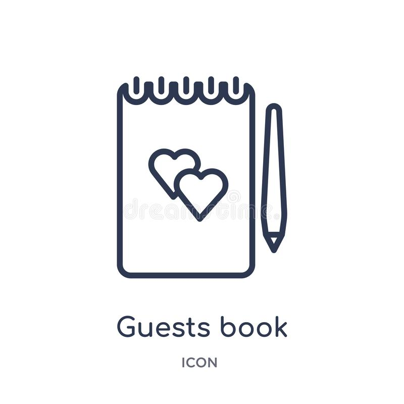 Icona lineare del libro di ospiti dalla raccolta del profilo della festa di compleanno Linea sottile vettore del libro di ospiti  illustrazione vettoriale