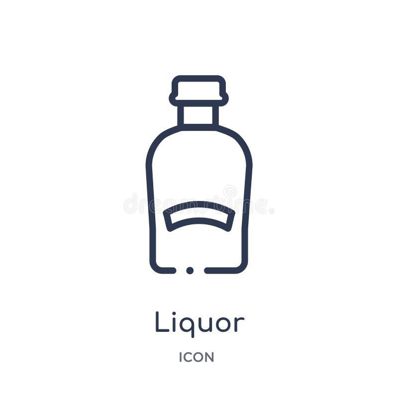 Icona lineare del liquore dalla raccolta del profilo delle bevande Linea sottile vettore del liquore isolato su fondo bianco liqu royalty illustrazione gratis