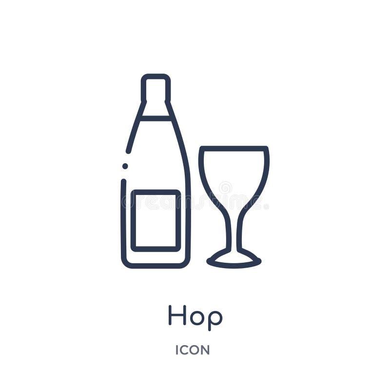 Icona lineare del luppolo dalla raccolta del profilo dell'alcool Linea sottile vettore del luppolo isolato su fondo bianco illust illustrazione di stock