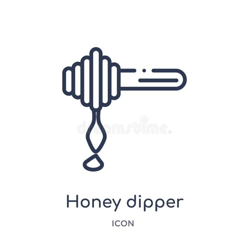 Icona lineare del merlo acquaiolo del miele dalla raccolta del profilo della cucina Linea sottile icona del merlo acquaiolo del m illustrazione vettoriale