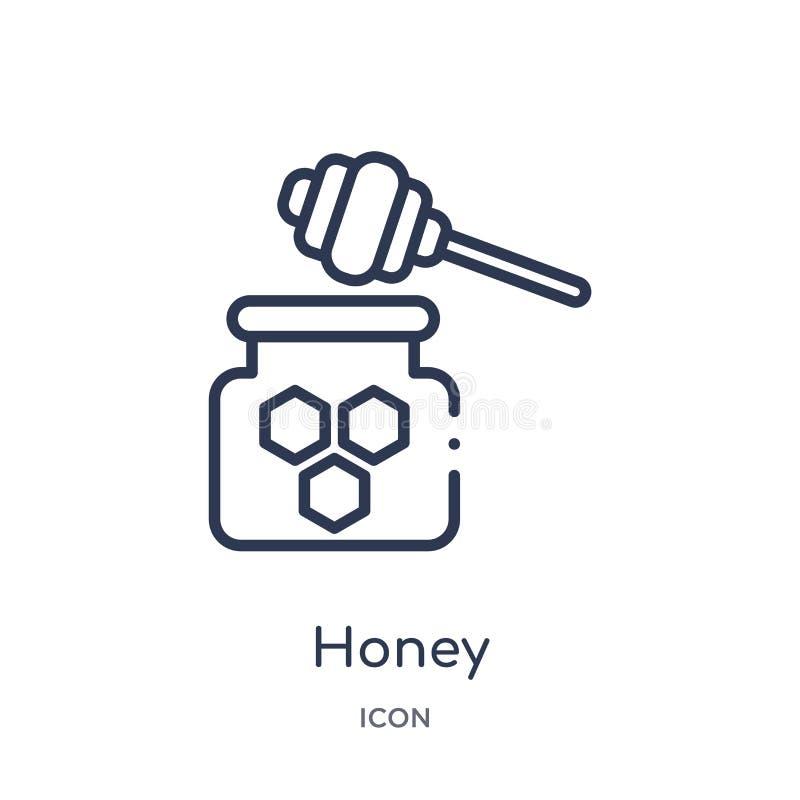 Icona lineare del miele dalla raccolta del profilo di autunno Linea sottile vettore del miele isolato su fondo bianco illustrazio illustrazione vettoriale