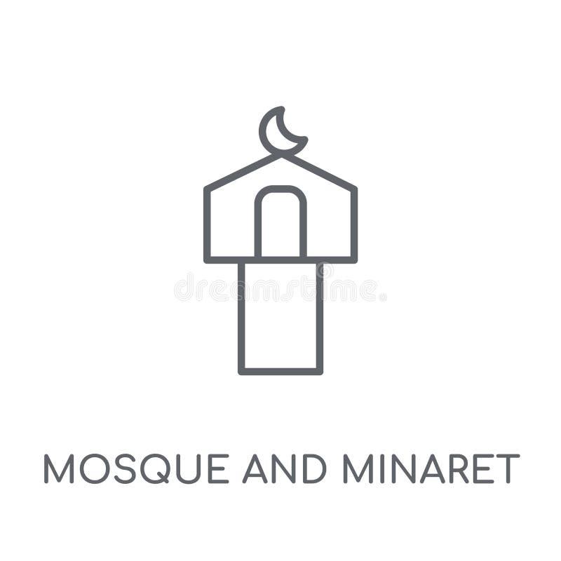 Icona lineare del minareto e della moschea Moschea moderna e Minare del profilo illustrazione vettoriale