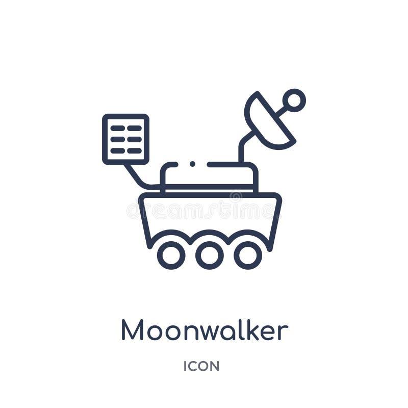 Icona lineare del moonwalker dalla raccolta del profilo di astronomia Linea sottile vettore del moonwalker isolato su fondo bianc royalty illustrazione gratis