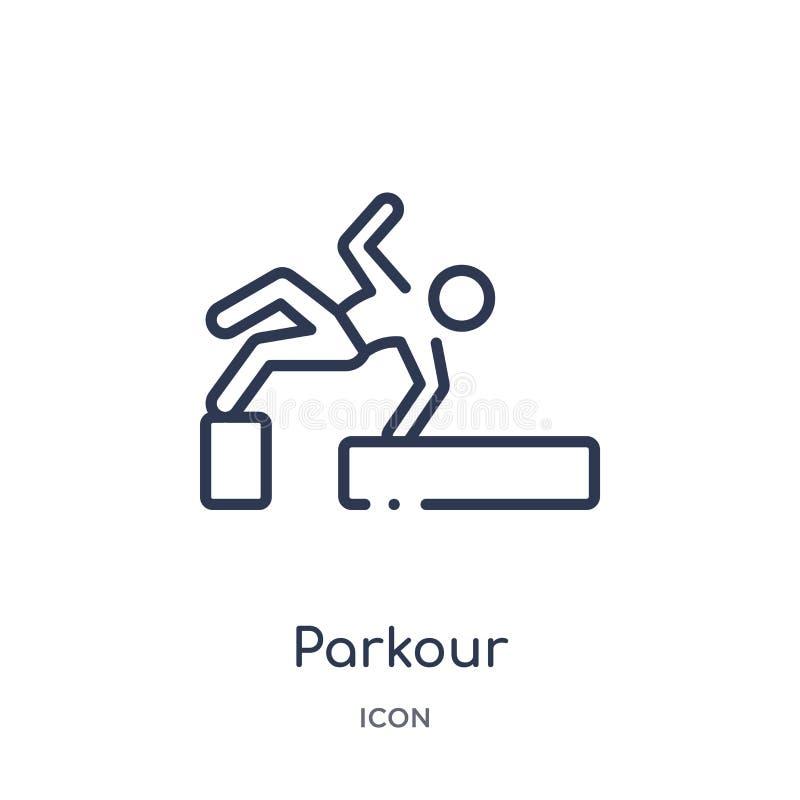 Icona lineare del parkour da attività e dalla raccolta del profilo di hobby Linea sottile vettore del parkour isolato su fondo bi royalty illustrazione gratis