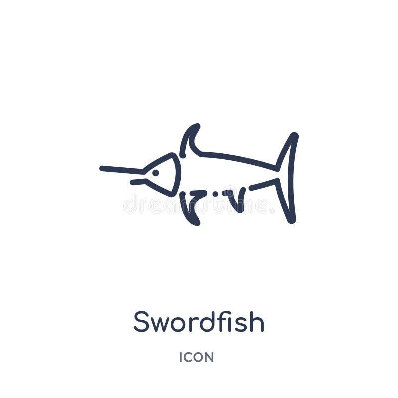 Icona lineare del pesce spada dalla raccolta del profilo degli animali Linea sottile icona del pesce spada isolata su fondo bianc royalty illustrazione gratis