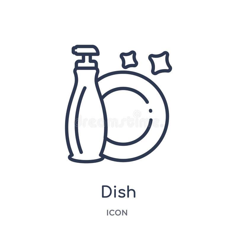 Icona lineare del piatto dalla raccolta di pulizia del profilo Linea sottile vettore del piatto isolato su fondo bianco illustraz royalty illustrazione gratis
