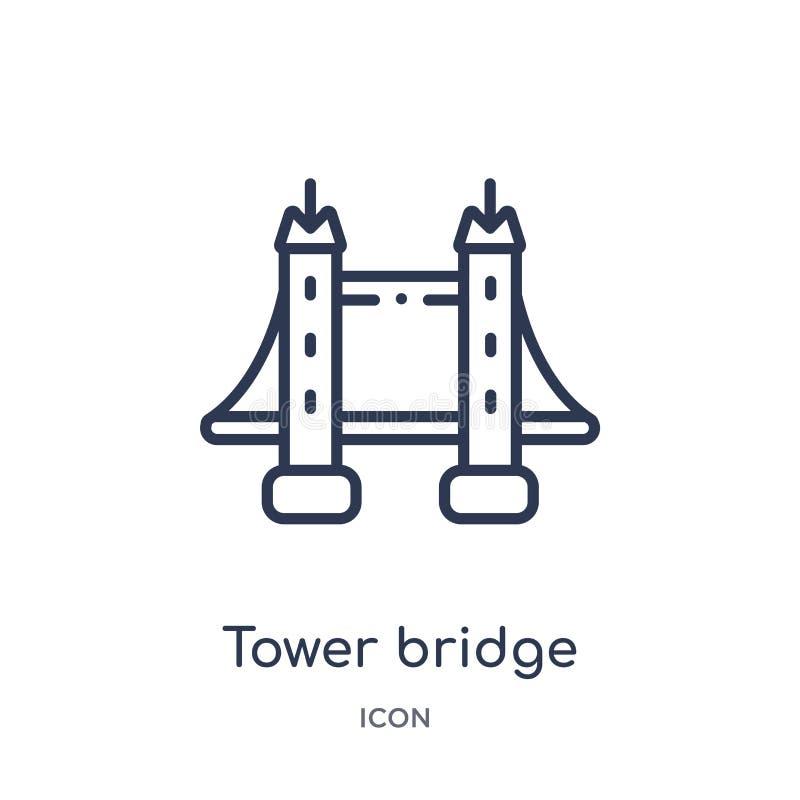 Icona lineare del ponte della torre da architettura e dalla raccolta del profilo di viaggio Linea sottile vettore del ponte della illustrazione vettoriale
