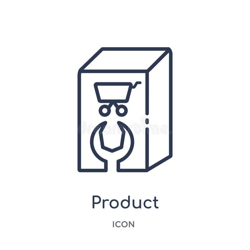 Icona lineare del prodotto dalla raccolta varia del profilo Linea sottile icona del prodotto isolata su fondo bianco prodotto d'a illustrazione vettoriale