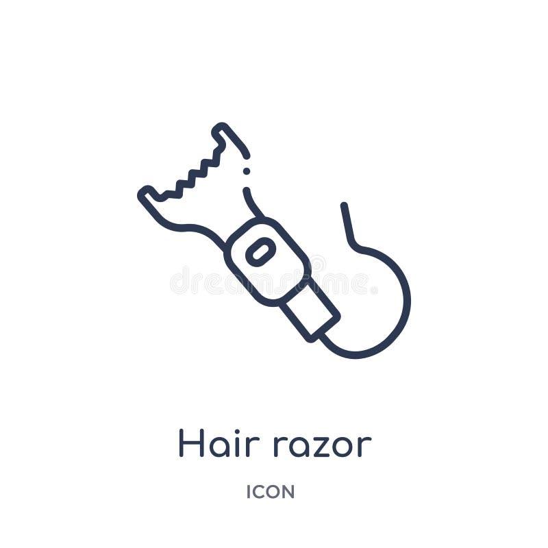 Icona lineare del rasoio dei capelli dalla raccolta del profilo di bellezza Linea sottile vettore del rasoio dei capelli isolato  illustrazione di stock