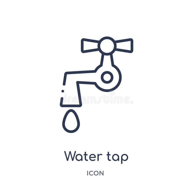 Icona lineare del rubinetto di acqua dalla raccolta del profilo di ecologia Linea sottile vettore del rubinetto di acqua isolato  illustrazione vettoriale