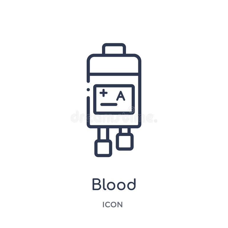 Icona lineare del sangue dalla raccolta igienico sanitaria del profilo Linea sottile icona del sangue isolata su fondo bianco san illustrazione vettoriale