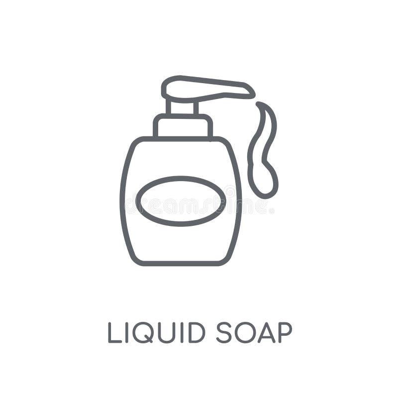 Icona lineare del sapone liquido Concetto moderno di logo del sapone liquido del profilo illustrazione di stock