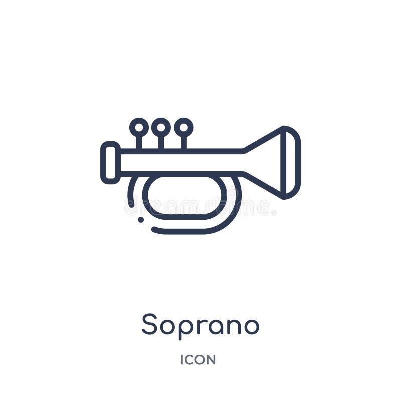 Icona lineare del soprano da spettacolo e dalla raccolta del profilo della galleria Linea sottile vettore del soprano isolato su  illustrazione vettoriale