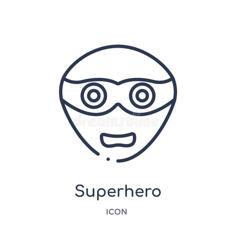 Icona lineare del supereroe dalla raccolta del profilo di emozioni Linea sottile vettore del supereroe isolato su fondo bianco su illustrazione di stock