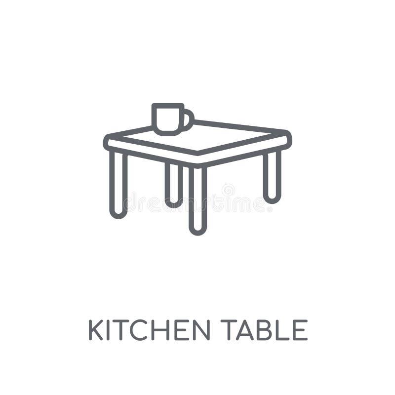 Icona lineare del tavolo da cucina Raggiro moderno di logo del tavolo da cucina del profilo illustrazione di stock