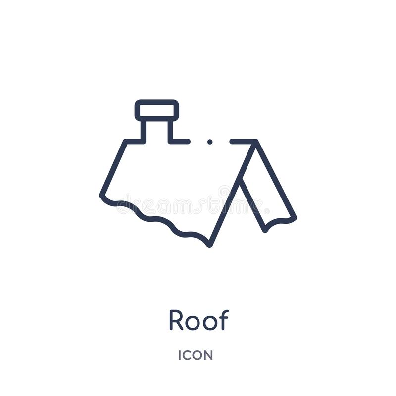 Icona lineare del tetto dalla raccolta del profilo degli strumenti della costruzione Linea sottile vettore del tetto isolato su f illustrazione vettoriale