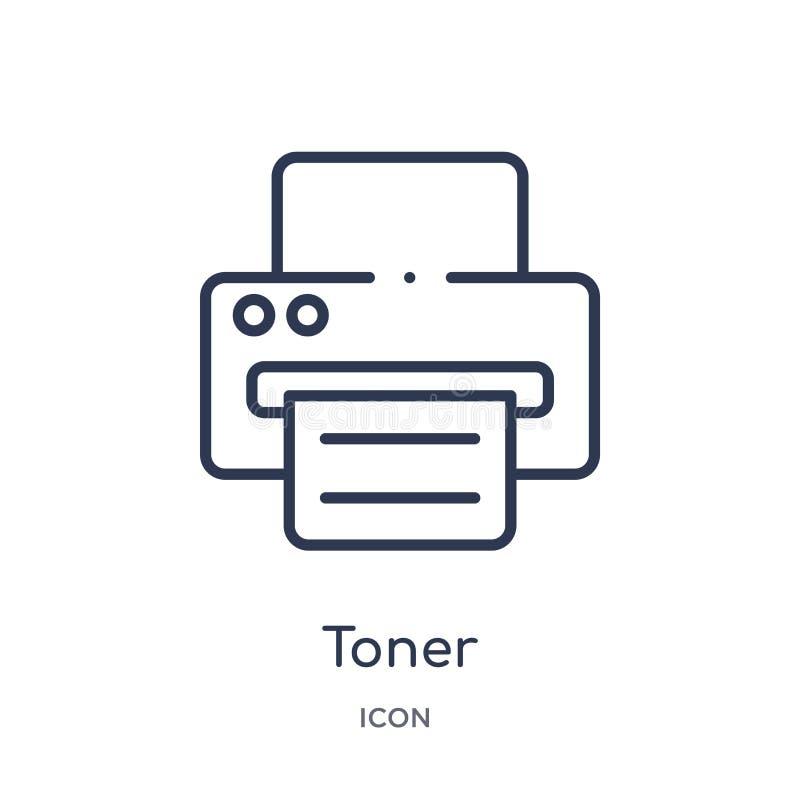 Icona lineare del toner dalla raccolta del profilo di elettronica Linea sottile icona del toner isolata su fondo bianco toner d'a illustrazione di stock