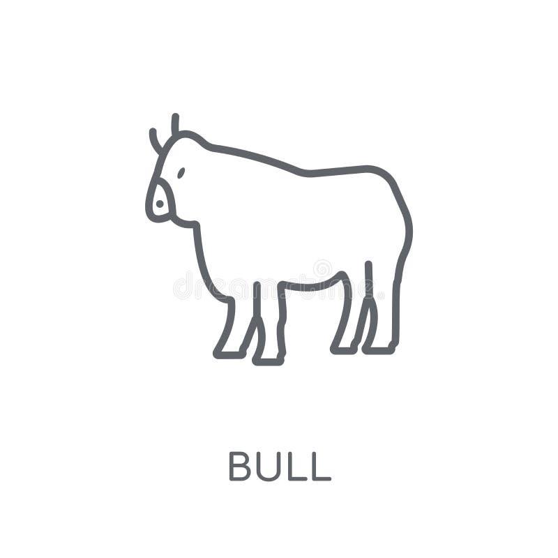 Icona lineare del toro Concetto moderno di logo del toro del profilo sulla parte posteriore bianca illustrazione vettoriale