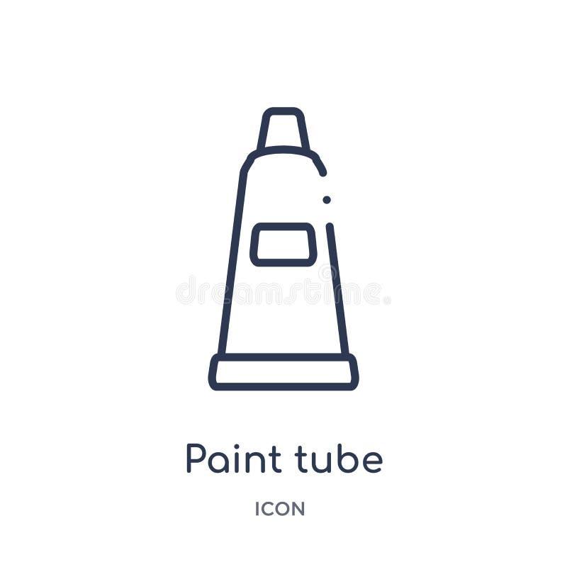 Icona lineare del tubo della pittura dalla raccolta del profilo di istruzione Linea sottile vettore del tubo della pittura isolat illustrazione di stock