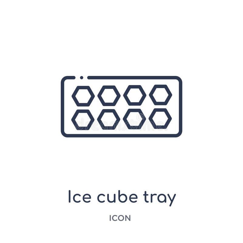 Icona lineare del vassoio del cubetto di ghiaccio dalla raccolta del profilo della cucina Linea sottile icona del vassoio del cub illustrazione di stock