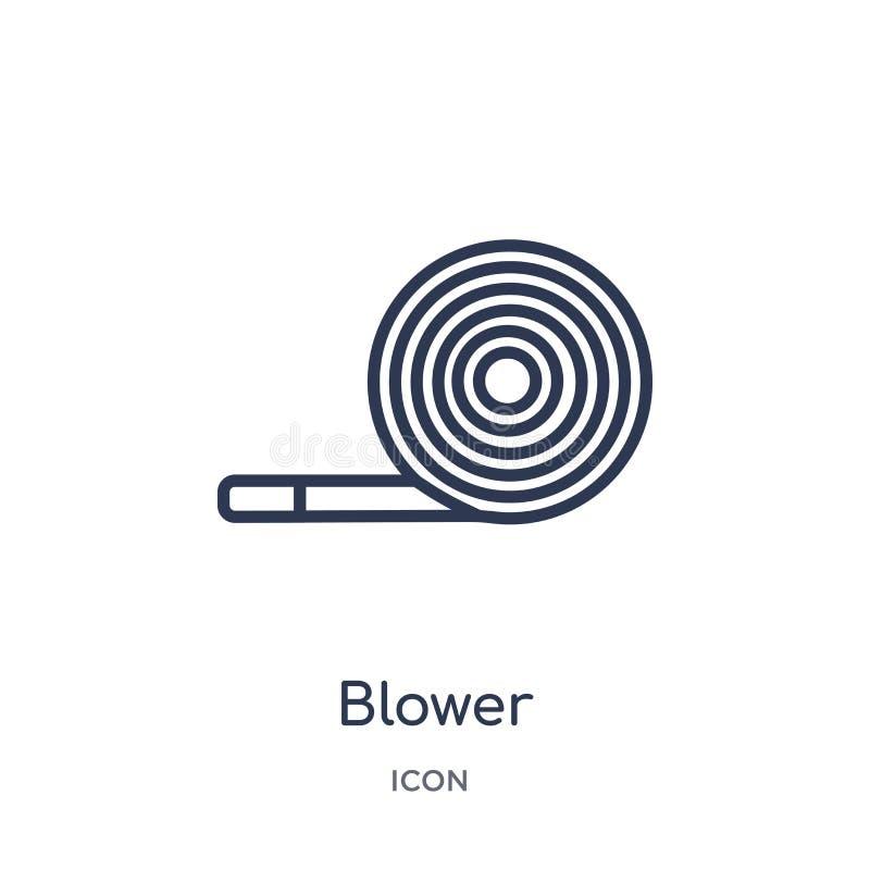 Icona lineare del ventilatore dalla raccolta del profilo della festa di compleanno Linea sottile vettore del ventilatore isolato  royalty illustrazione gratis