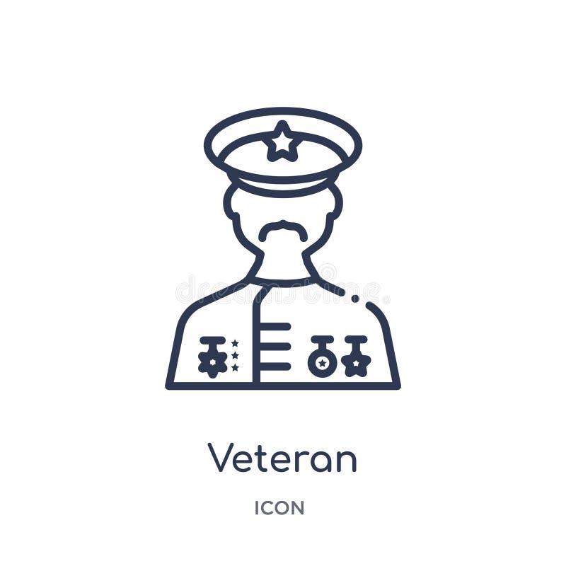 Icona lineare del veterano dalla raccolta del profilo di guerra e dell'esercito Linea sottile vettore del veterano isolato su fon illustrazione di stock