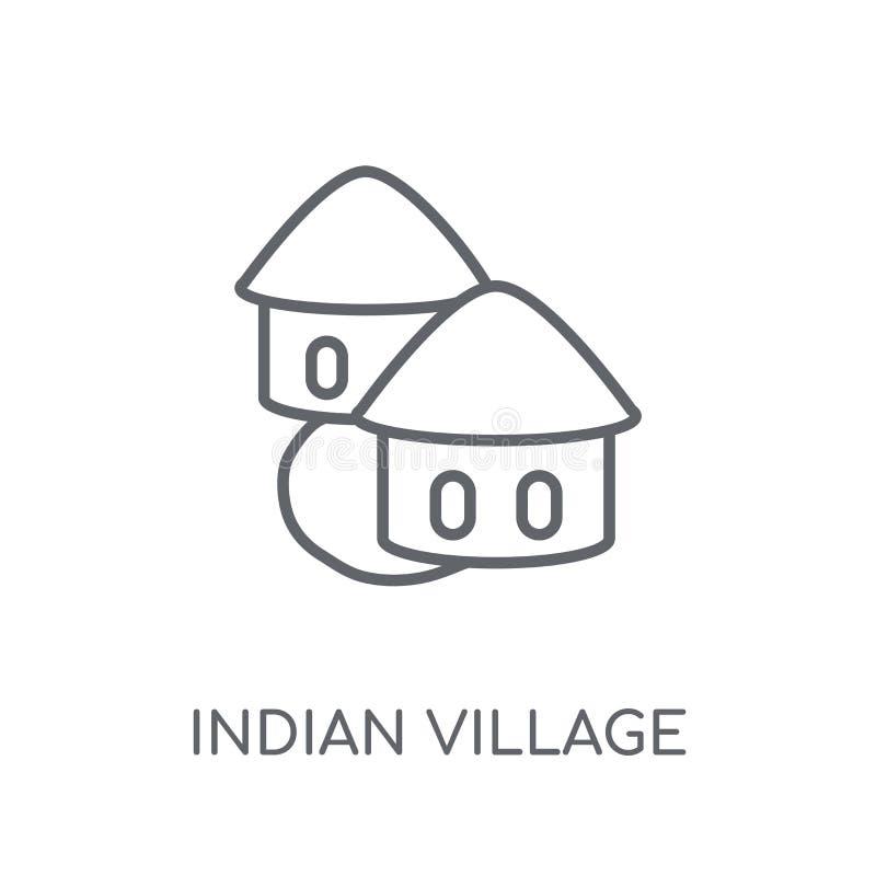 Icona lineare del villaggio indiano Logo indiano c del villaggio del profilo moderno royalty illustrazione gratis