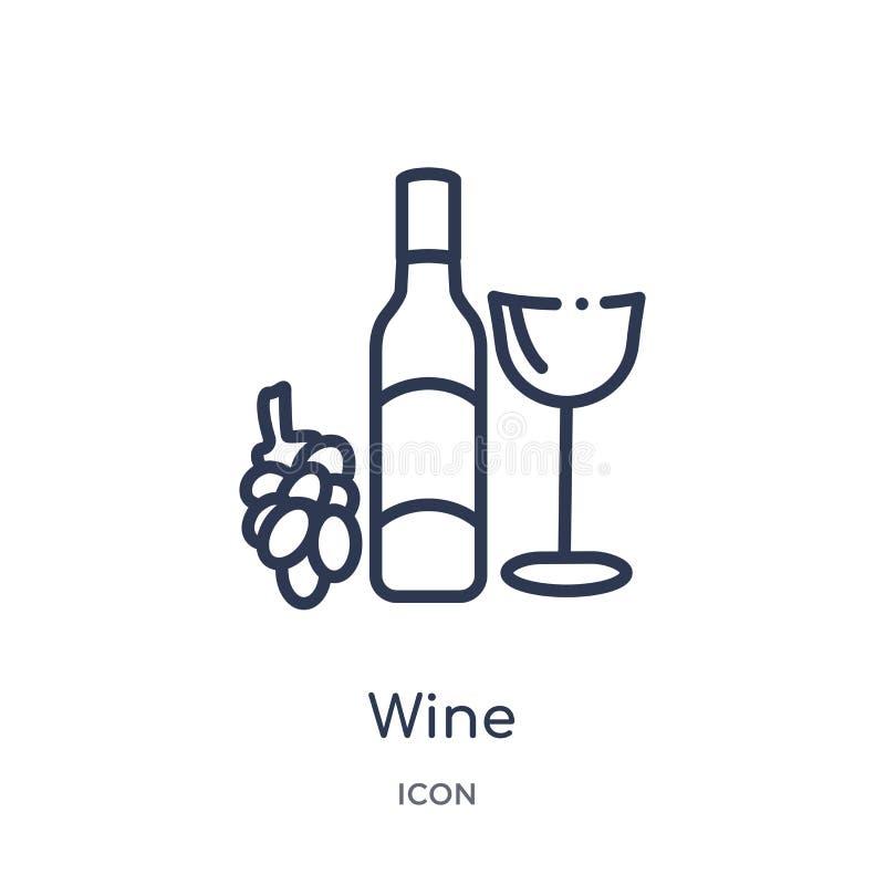 Icona lineare del vino dalla raccolta del profilo delle bevande Linea sottile vettore del vino isolato su fondo bianco illustrazi illustrazione di stock
