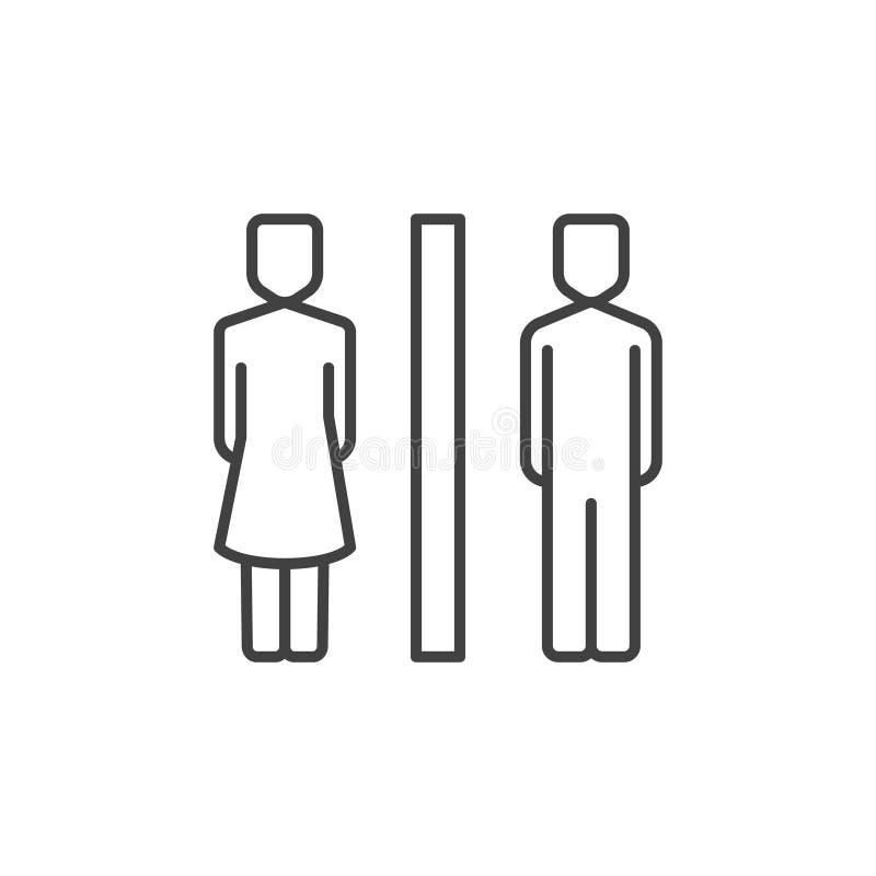Icona lineare del WC Simbolo del profilo della toilette della donna e dell'uomo di vettore illustrazione vettoriale