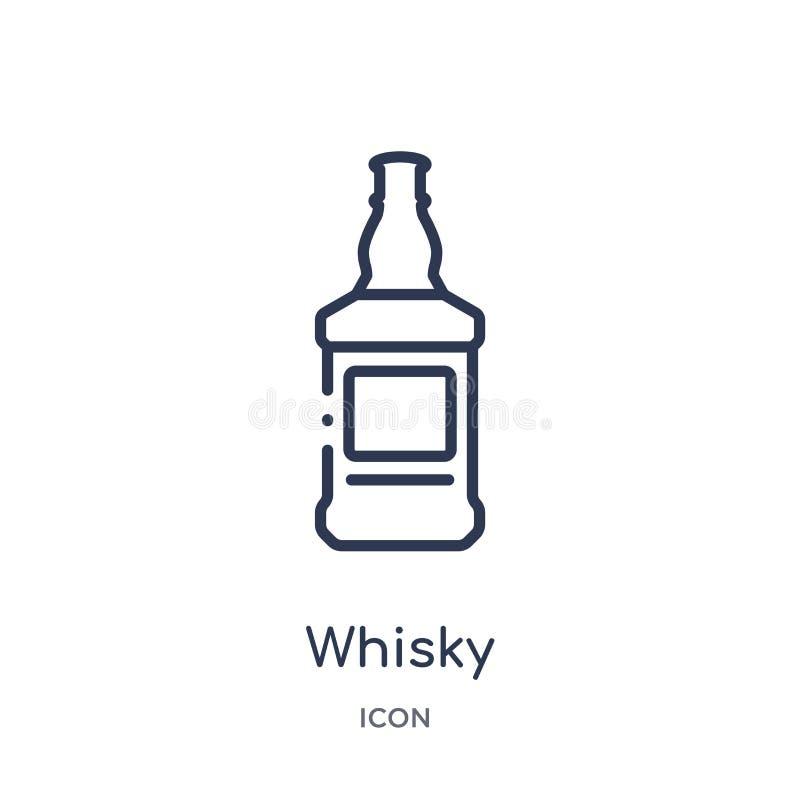 Icona lineare del whiskey dalla raccolta del profilo dell'alcool Linea sottile vettore del whiskey isolato su fondo bianco whiske royalty illustrazione gratis