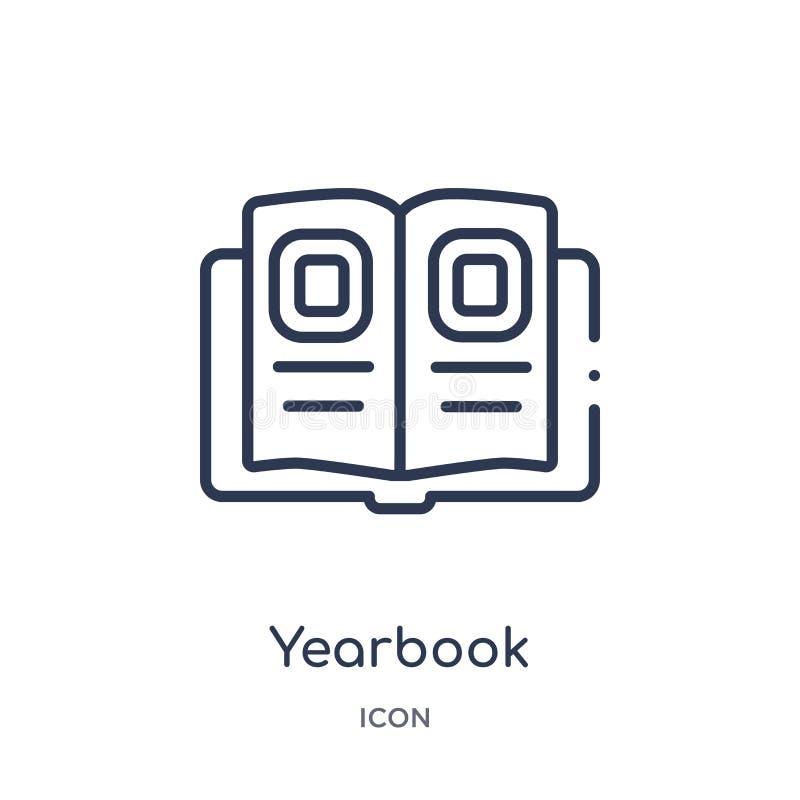 Icona lineare dell'annuario dalla raccolta del profilo generale Linea sottile icona dell'annuario isolata su fondo bianco annuari illustrazione vettoriale