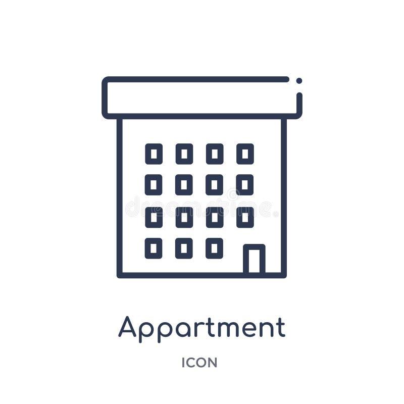 Icona lineare dell'appartamento dalla raccolta del profilo delle costruzioni Linea sottile icona dell'appartamento isolata su fon royalty illustrazione gratis