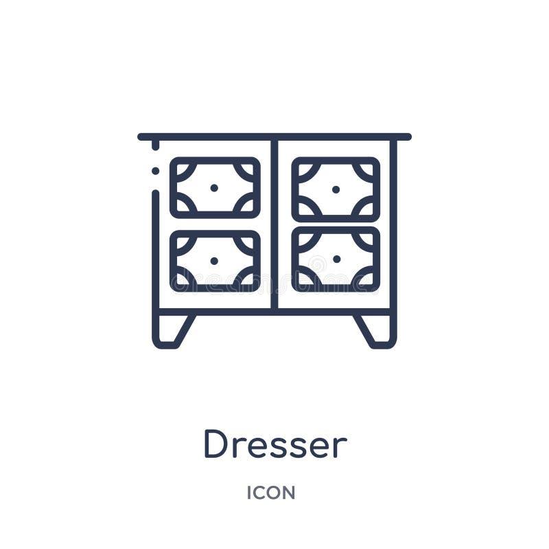 Icona lineare dell'apprettatrice dalla raccolta del profilo della mobilia Linea sottile icona dell'apprettatrice isolata su fondo illustrazione di stock