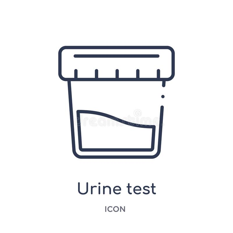 Icona lineare dell'esame delle urine dalla raccolta del profilo generale Linea sottile icona dell'esame delle urine isolata su fo illustrazione di stock