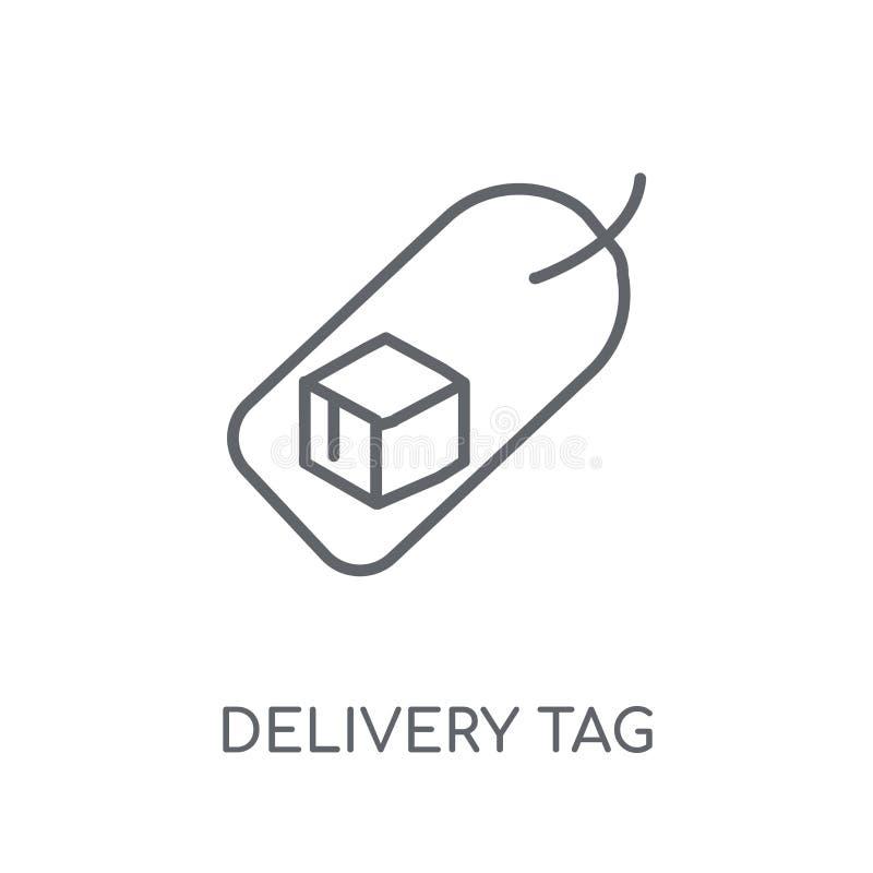 Icona lineare dell'etichetta di consegna Conce moderno di logo dell'etichetta di consegna del profilo illustrazione di stock