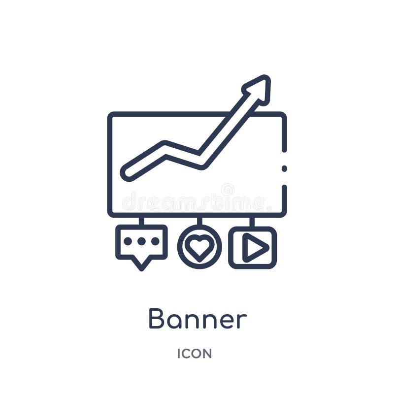 Icona lineare dell'insegna dalla raccolta commercializzante del profilo Linea sottile icona dell'insegna isolata su fondo bianco  royalty illustrazione gratis