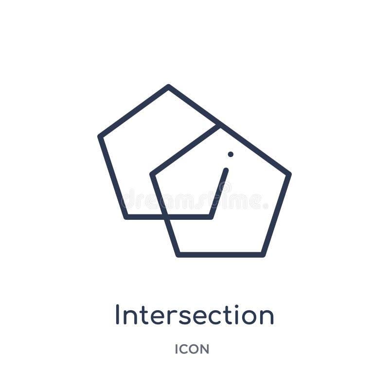 Icona lineare dell'intersezione dalla figura geometrica raccolta del profilo Linea sottile icona dell'intersezione isolata su fon royalty illustrazione gratis