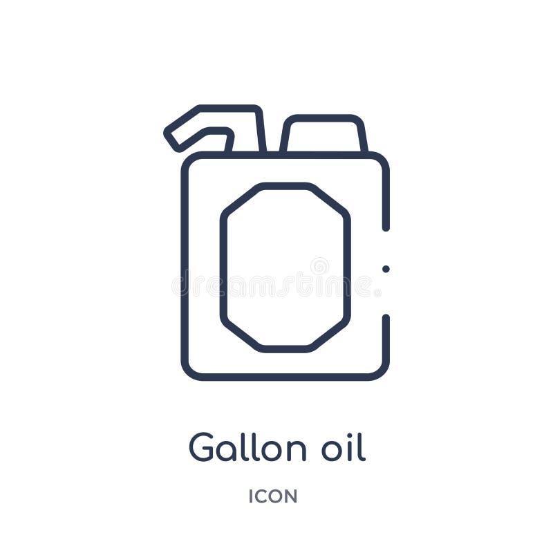 Icona lineare dell'olio di gallone dalla raccolta del profilo degli strumenti della costruzione Linea sottile vettore dell'olio d illustrazione di stock