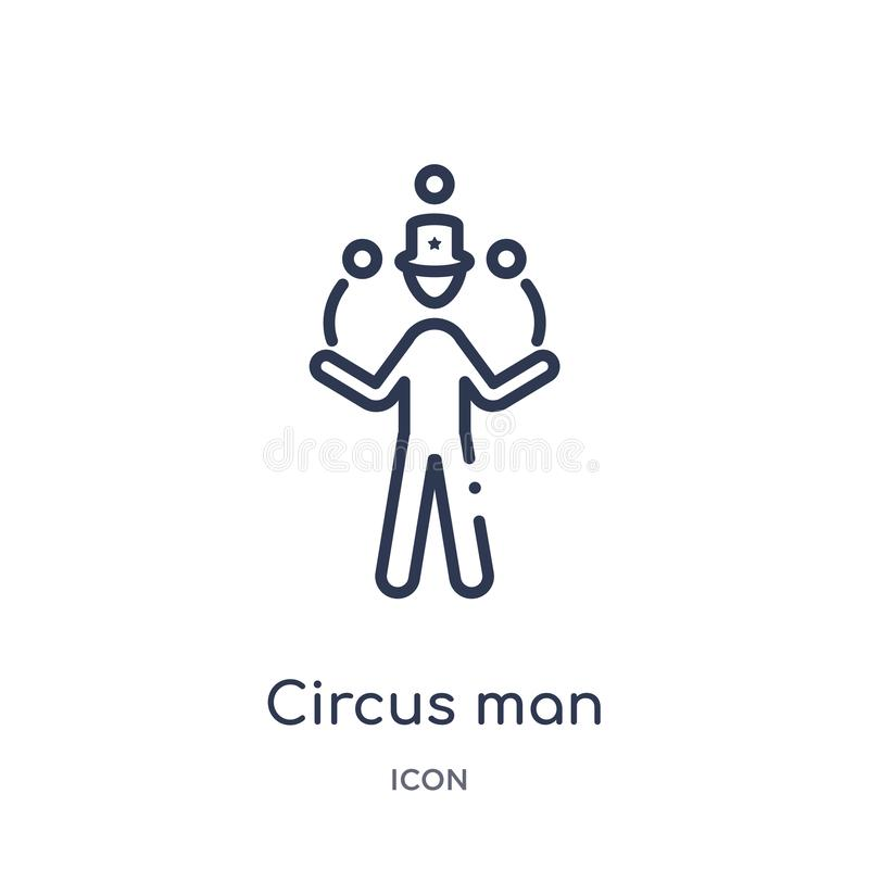Icona lineare dell'uomo del circo dalla raccolta del profilo di comportamento Linea sottile vettore dell'uomo del circo isolato s royalty illustrazione gratis