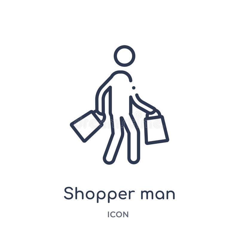 Icona lineare dell'uomo del cliente dalla raccolta del profilo di comportamento Linea sottile vettore dell'uomo del cliente isola illustrazione di stock