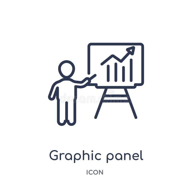 Icona lineare dell'uomo e del pannello grafico dalla raccolta del profilo di affari Linea sottile icona dell'uomo e del pannello  royalty illustrazione gratis