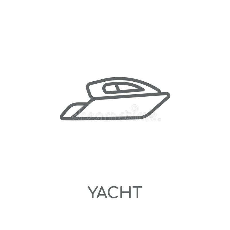 Icona lineare dell'yacht Concetto moderno di logo dell'yacht del profilo sulle sedere bianche illustrazione di stock