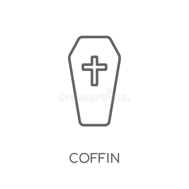 Icona lineare della bara Concetto moderno di logo della bara del profilo su bianco illustrazione vettoriale